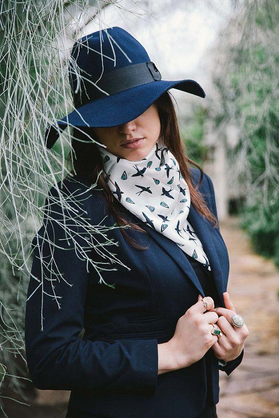 Swallows on white square silk satin scarf  Women fashion