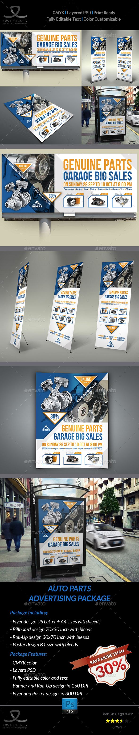 Parts of a poster design - Auto Parts Advertising Bundle