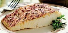 Simple, baked halibut with lemon, olive oil and paprika