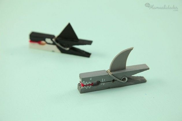 Tiburones realizados con pinzas