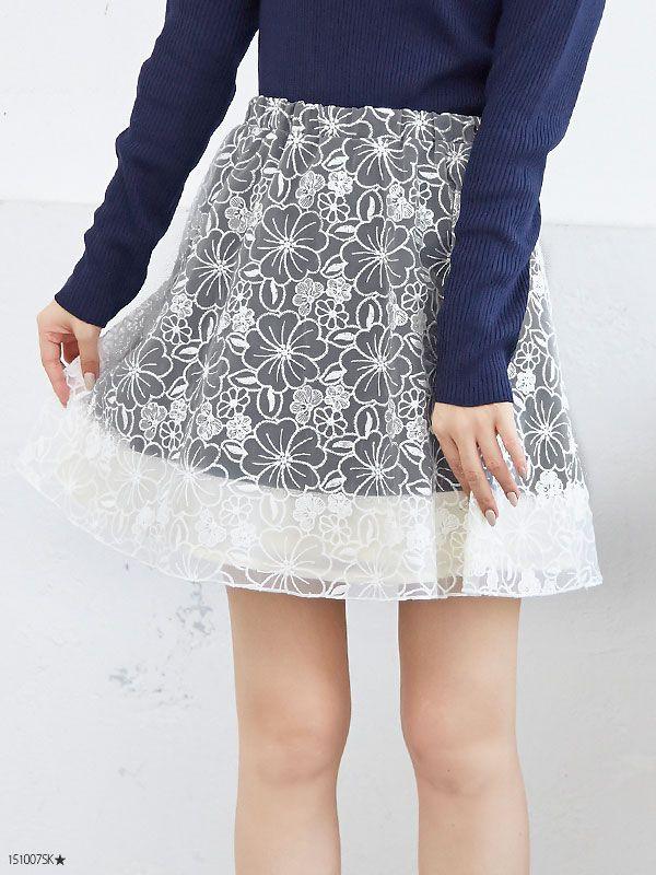 オーガンジーお花刺繍タフタ配色切替フレアミニスカート