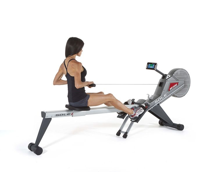 Sole SR500 Rower. This rower offers a high sitting position that allows users to get on and off the machine with ease. Display includes a two color LCD display. Foldaway design allows users to exercise anywhere in the home and store after use. The SR500 delivers a smooth natural pull via a powerful eddy current magnetic-air resistance system.
