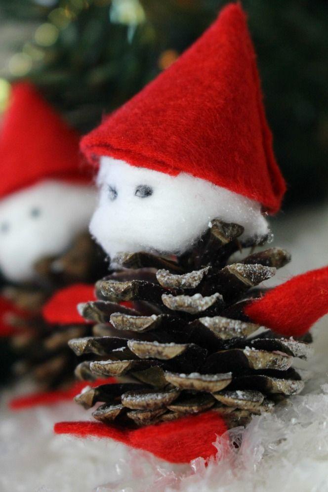 DIY Snowy Pinecone Gnomes