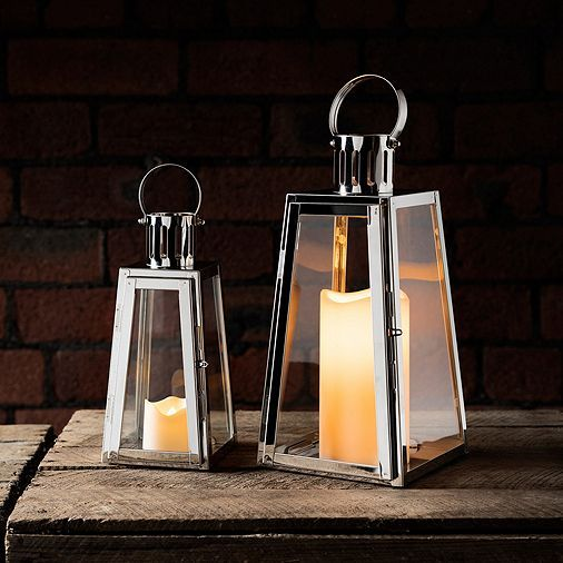 Tesco direct: Set of 2 Stainless Steel Trapeze Battery LED Candle Lanterns