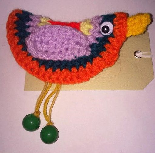 bird brooch-ready to shape-crochet by BickersCrochetCuties on Etsy