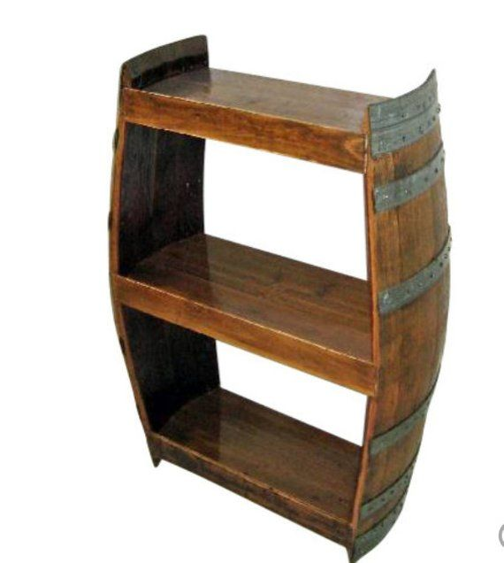 A Beautiful Spice Rack Crafted From An Old Wine Barrel Comes With Either 3 Or 4 Shelves And Your Choi Wine Barrel Furniture Wine Shelves Wine Barrels For Sale