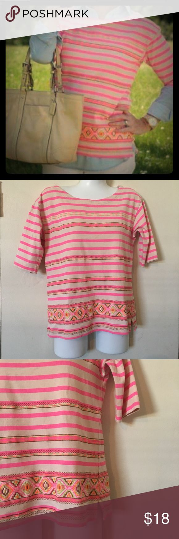J Crew striped Neon Aztec tribal shirt size xs J Crew striped neon Aztec tribal southwest Navajo shirt. Size extra small J. Crew Tops