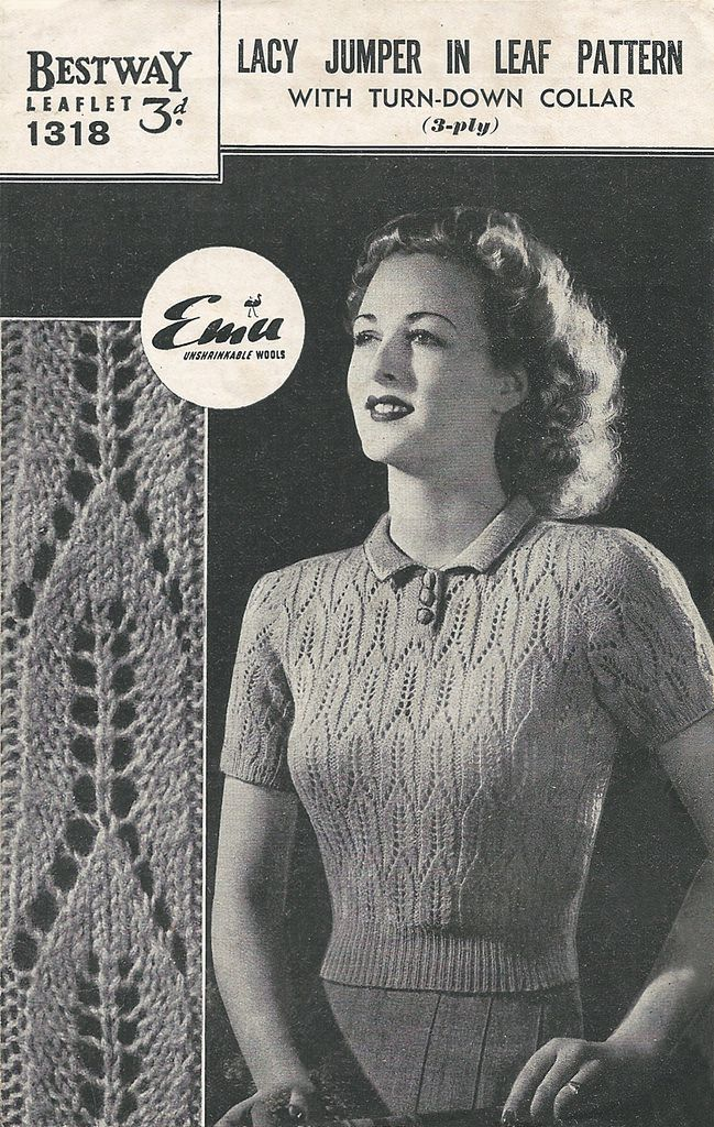 Free 1940s Knitting pattern for a lacy jumper in lead pattern - Renée And The Cat's Meow