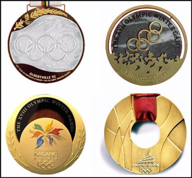 Gold Medals from (clockwise from top left) Albertville 1992, Lillehammer 1994, Torino 2006, Nagano 1998.