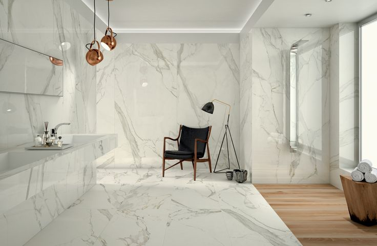 Marble look Anima series in big slabs enhance your everyday intimate spaces with relaxing atmosphere. #white #marble #outdoor #colour #design #tile #design #lanscapearchitecture #ceramicheacaesar #caesarceramics #project #evolution #home #indoor #hospitality #office #shop #boutique #cladding #floor #wall
