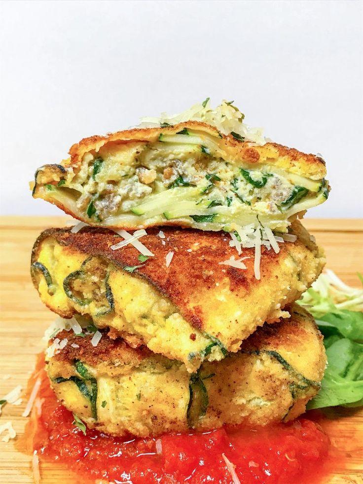 Low Carb Zucchini Fried Ravioli - Culinary Lion   Keto in 2019   Low carb zucchini fries ...