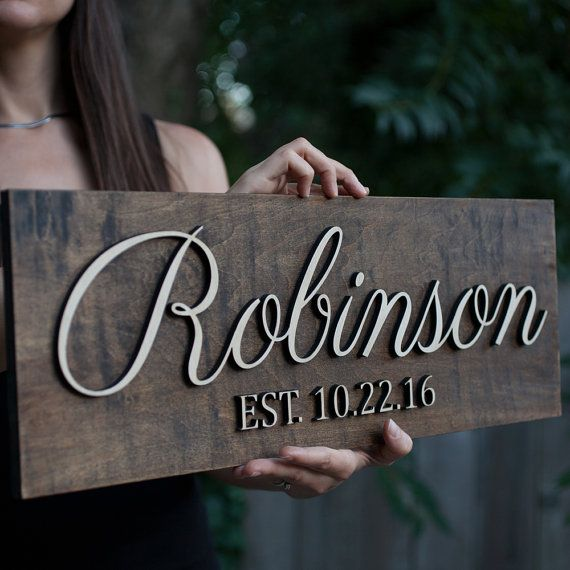 Family Name Sign 3D Wedding Established Sign by zazagallery