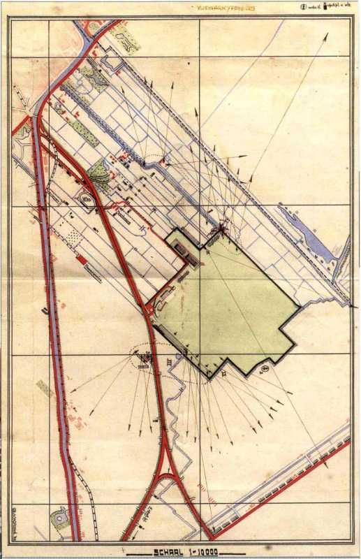 May 1940 map of the airfield, showing the ground defenses and their firing sectors at Ypenburg (map via Peter van Kaathoven).