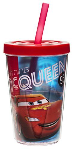 Zak! Designs Insulated Tumbler with Screw-on Lid and Straw featuring Lightning Mc Queen Graphics Br @ niftywarehouse.com #NiftyWarehouse #Disney #DisneyMovies #Animated #Film #DisneyFilms #DisneyCartoons #Kids #Cartoons