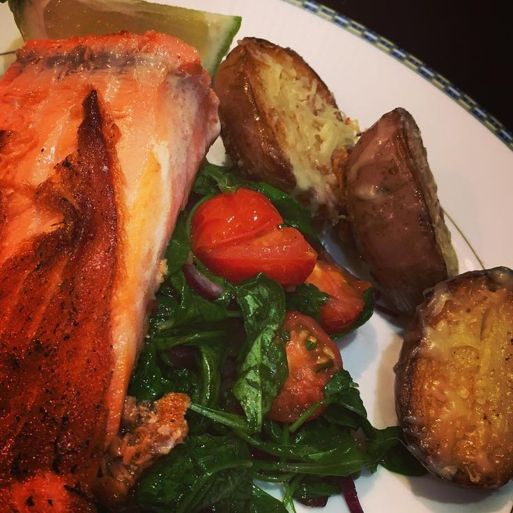 Salmon and salad with Parmesan potatoes. All leftovers @love_food_hate_waste_nz - best ever #thefearlesskitchen
