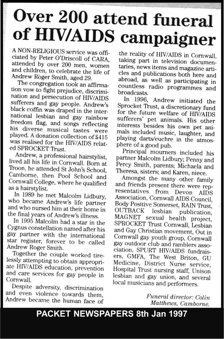 Packet Newspaper report on Andrews funeral.   #LGBT  http://www.lgbthistorycornwall.blogspot.com