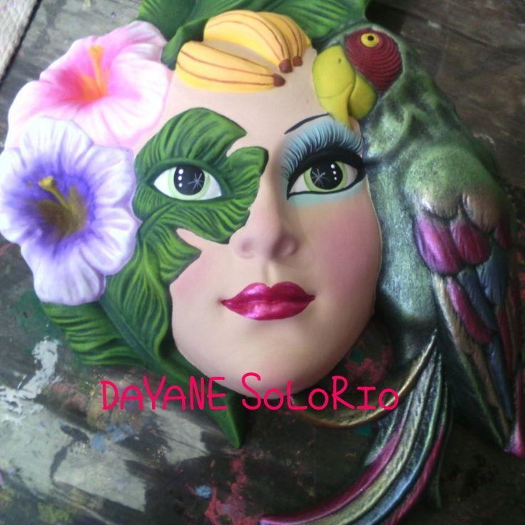 Mascara de ceramica pintada a mano tecnica pincel seco for Tecnicas para esmaltar ceramica