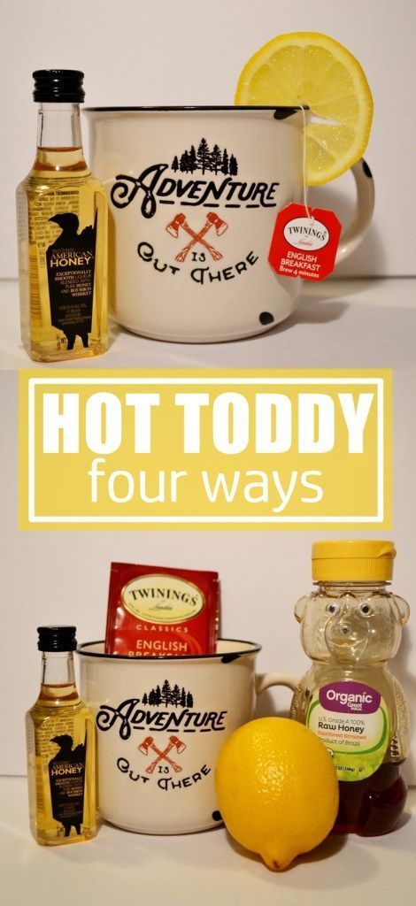 Hot Toddy Recipe | Four Ways To Make A Hot Toddy. Hot Toddy natural cold and flu remedy. Hot toddy recipe with variations, Ingredients are black tea, whiskey, honey and lemon. Optional ingredients are peppermint tea, cayenne pepper and ginger. Hot alcohol, liquor drinks.
