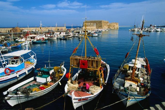Fishing boats moored in the harbour - Iraklio, Iraklio Province, Crete