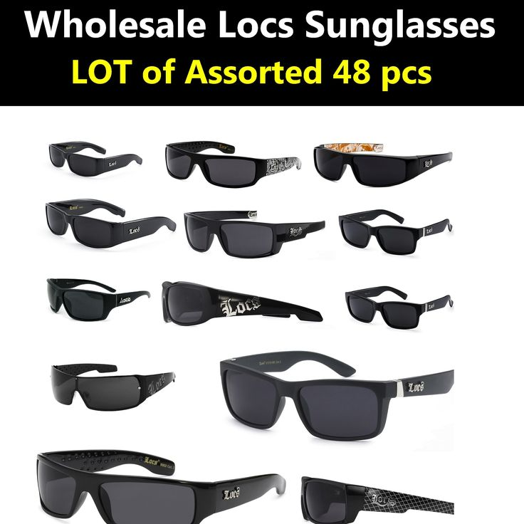 Locs Sunglasses Wholesale Bulk Lot Of 48 ASSORTED Styles Pre Selected styles( 48 PCS). 48 Pieces Per Case Wholesale Lot of LOCS Sunglasses. Assorted Colored Frame LOCS Hard core Sunglasses.Bulk Sunglasses - Wholesale Bulk LOCS Glasses, What's pictured is only a sample of what you are getting. We will make sure to send you at least 70 % of what's pictured, but sometimes certain styles are out of stock , but do not worry! We will send our best selling styles guaranteed!.