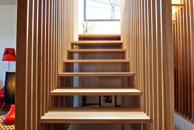 Best Vertical Wood Slats Wall To The Stairs Staircase 400 x 300