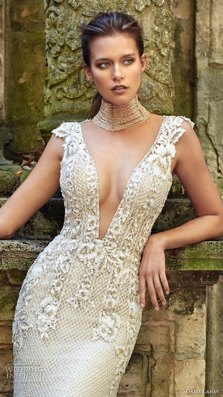 galia lahav fall 2017 bridal sleeveless deep plunging v neck heavily embellished bodice elegant sheath trumpet wedding dress low back sweep train (summerbella) zv