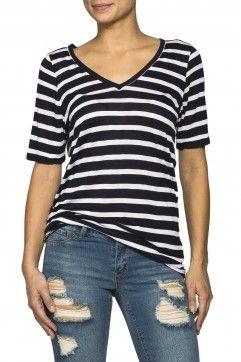 Girls Stripe V-Neck Boxy Short Sleeve
