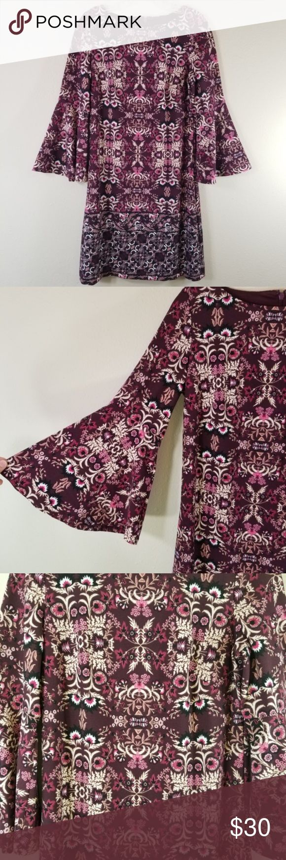 Vince Camuto 6 Bell Sleeve Shift Floral Dress 3246 Vince Camuto 6 Bell Sleeve Shift Floral Dress Excellent Bell Sleeve Shift Dress Bell Sleeves Purple Dress [ 1740 x 580 Pixel ]