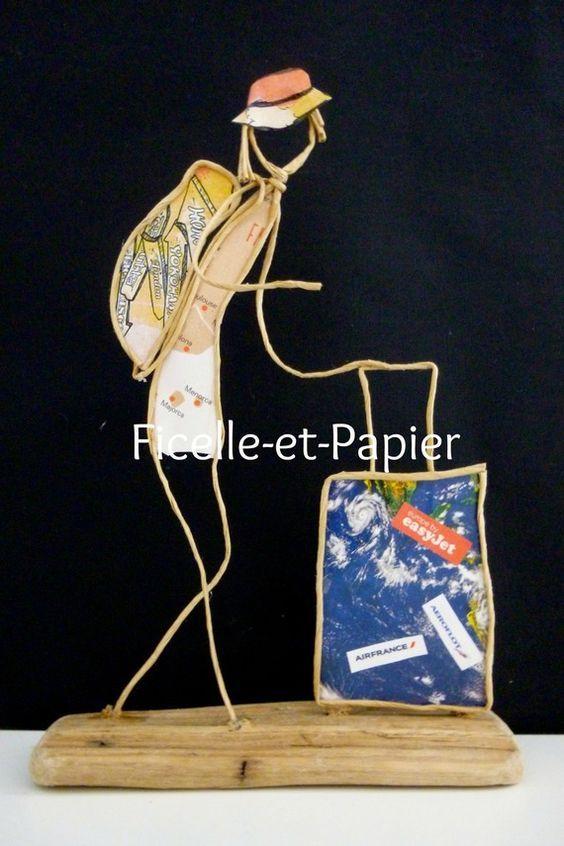 La globe-trotteuse - Figurine en ficelle et papier