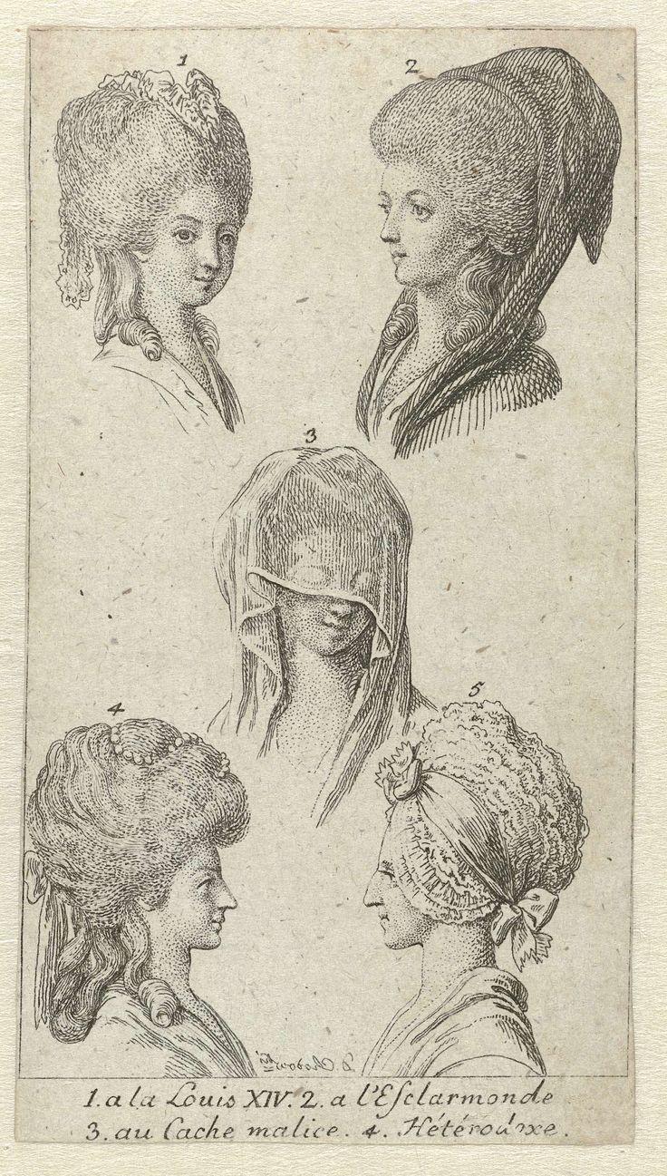 Lauenburger genealogischen kalender auf das Jahr 1783: Vijf dameskapsels met muts of sluier, Daniel Nikolaus Chodowiecki, 1783