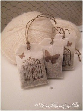 lavender sachets with lovely stamped bags