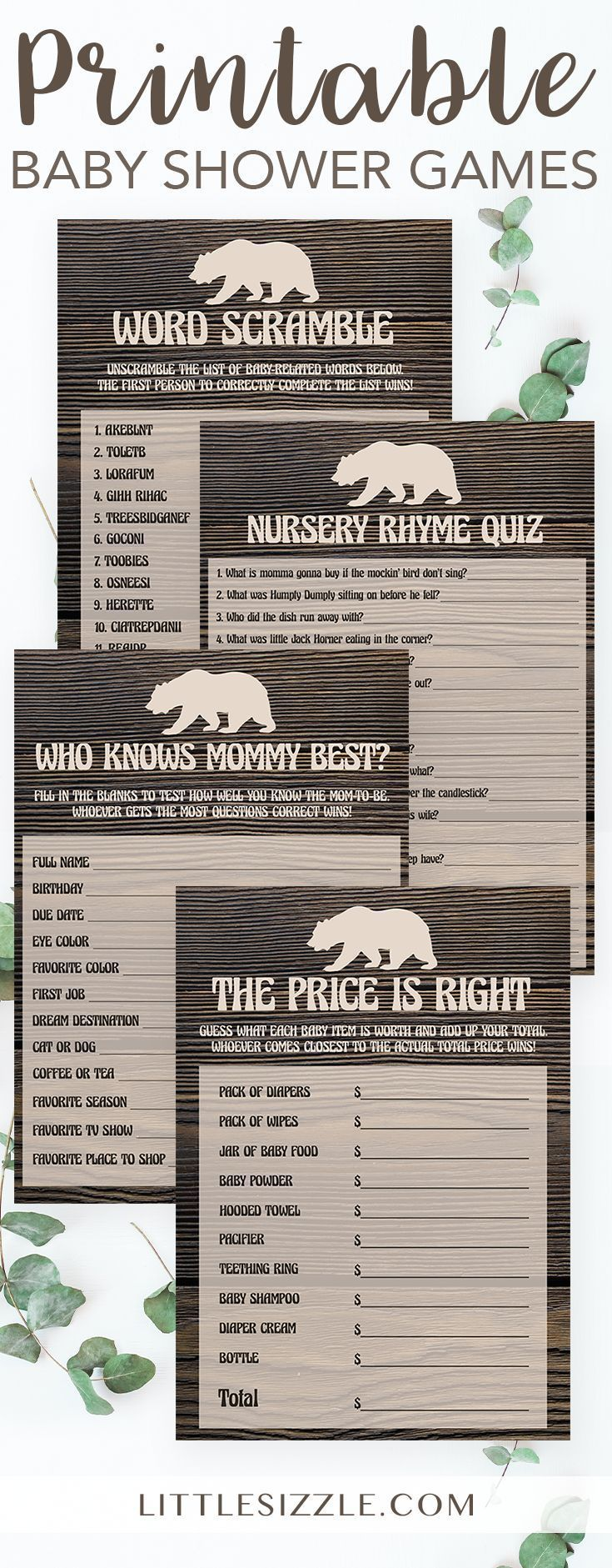 free printable famous couples bridal shower games%0A Printable Bear Baby Shower Activities