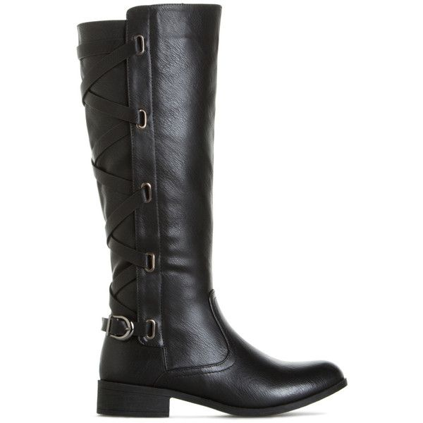 ShoeDazzle Boots Maliah Womens Black ❤ liked on Polyvore featuring shoes, boots, black, black strap shoes, black shoes, black equestrian boots, black strappy shoes and riding boots