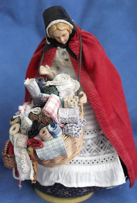 Vintage English Peddler Sewing Doll. 9 Inches.