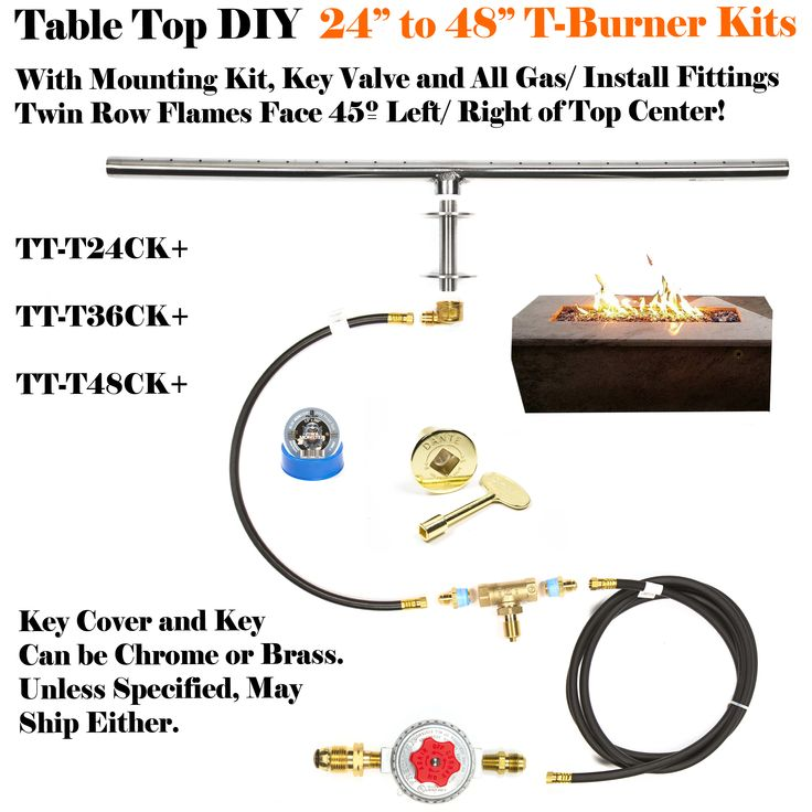 """For those looking to convert or make a table fire feature... EasyFirePits.com has everything you need in one bundled package on eBay. Item is the T24CK+ and it gives you a full connection within your table design, from a propane tank like the one you would use with your gas grill all the way up to and including the 316 Stainless Steel Burner, which by the way is """"Lifetime Warranted""""! Check our gallery page for other DIY Gas Fire Feature ideas and how-to's. EasyFirePits.com/gallery ;)"""