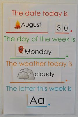 Preschool Week Chart - i want to do this for avery at home. I think this would be a great addition to an EFL / ESL classroom. If every lesson started with this, the kids would really take in all the vocab.
