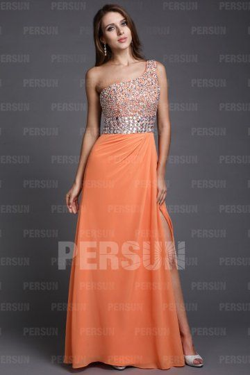 Sheath One Shoulder Sequined Orange Tencel Prom Dress