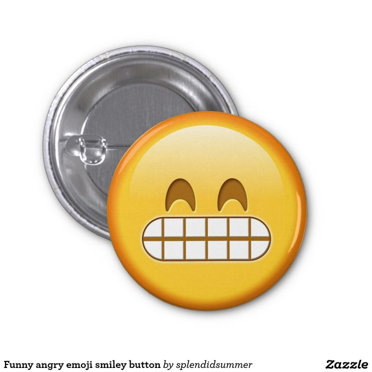 Funny angry emoji smiley button 1 inch round button