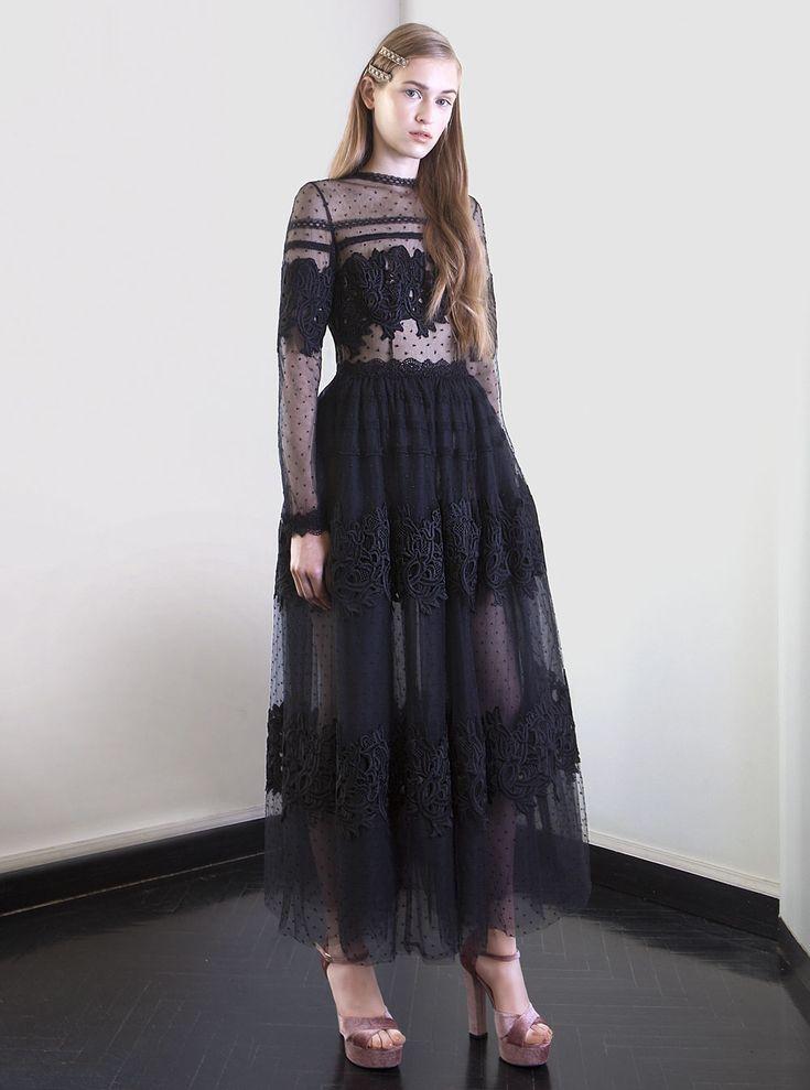PR 1744 Guipure Lace Sheath Dress, Magenta