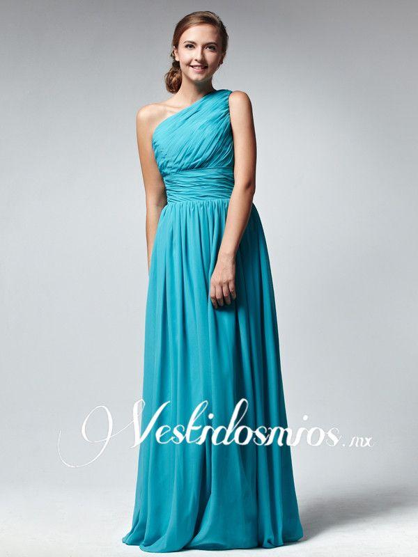 Chiffon Formal Solo Hombro Fruncido Azul Largo Vestido Formal VP125 [VP125] - Mex$2,855
