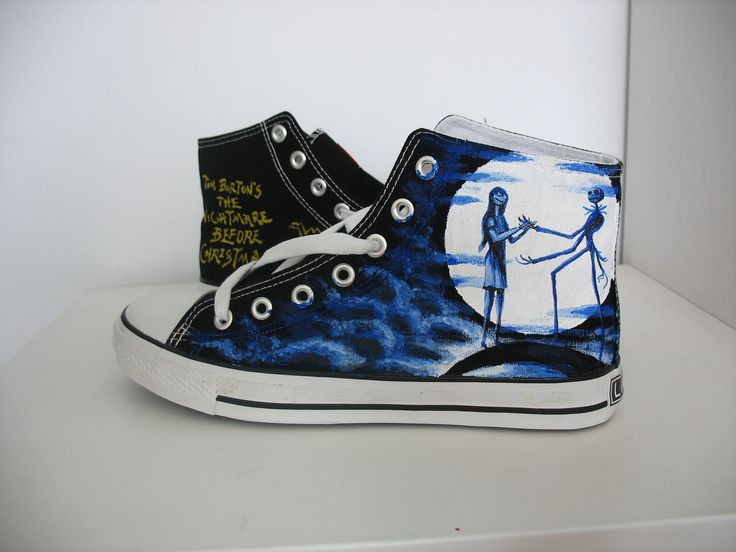 custom converse Nightmare before Christmas  shoes Hand-painted on converse sneaker. $89.99, via Etsy.  Another great Nightmare Before Christmas pair of shoes.