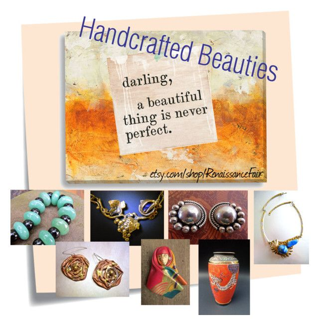 """""""Handcrafted Beauties"""" by renaissance-fair ❤ liked on Polyvore featuring Post-It and Sugarboo Designs"""