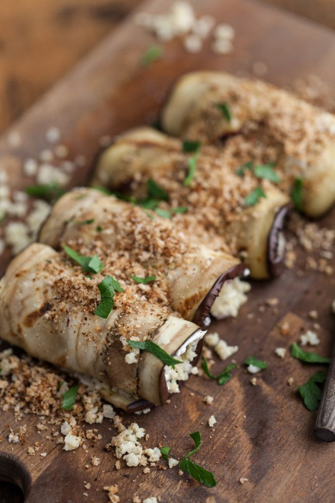 Grilled Eggplant Rolls with Cream Cheese and Herbed Millet