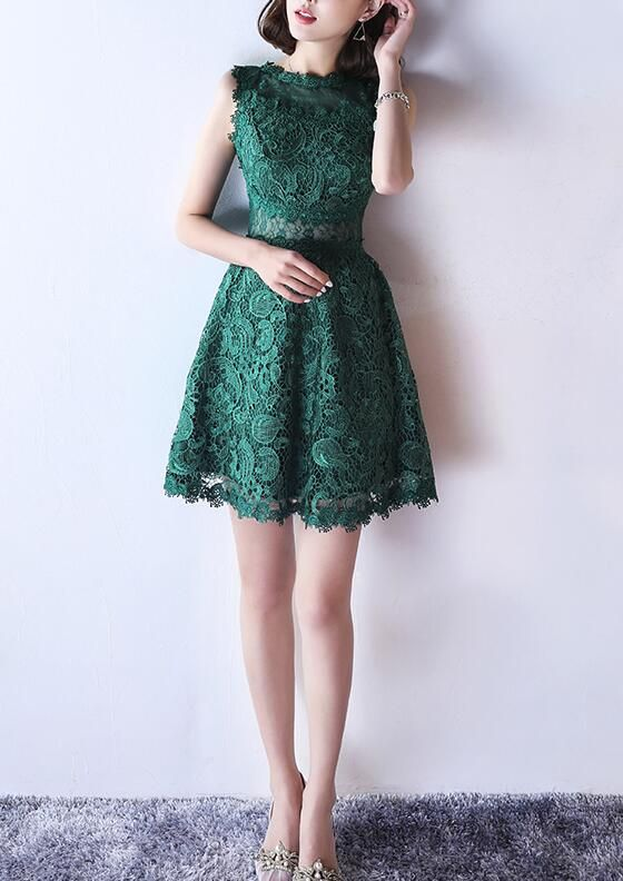 5edfbd0b737 Green Lace See Through Back Short Round Neckline Party Dress