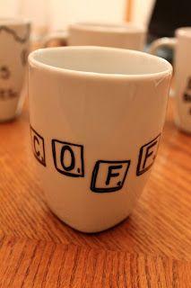 Scrabble tile coffee