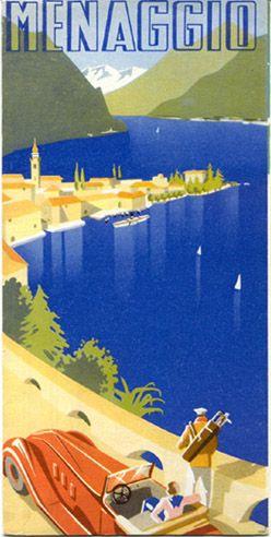 Menaggio , Lago di Como Italia . Vintage travel beach poster www.varaldocosmetica.it/en the olive oil cosmetics from the Riviera .