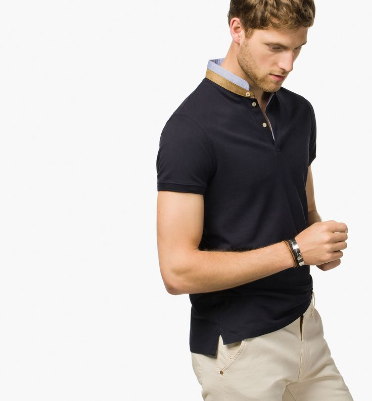 PLAIN POLO SHIRT WITH MAO COLLAR | Outfit