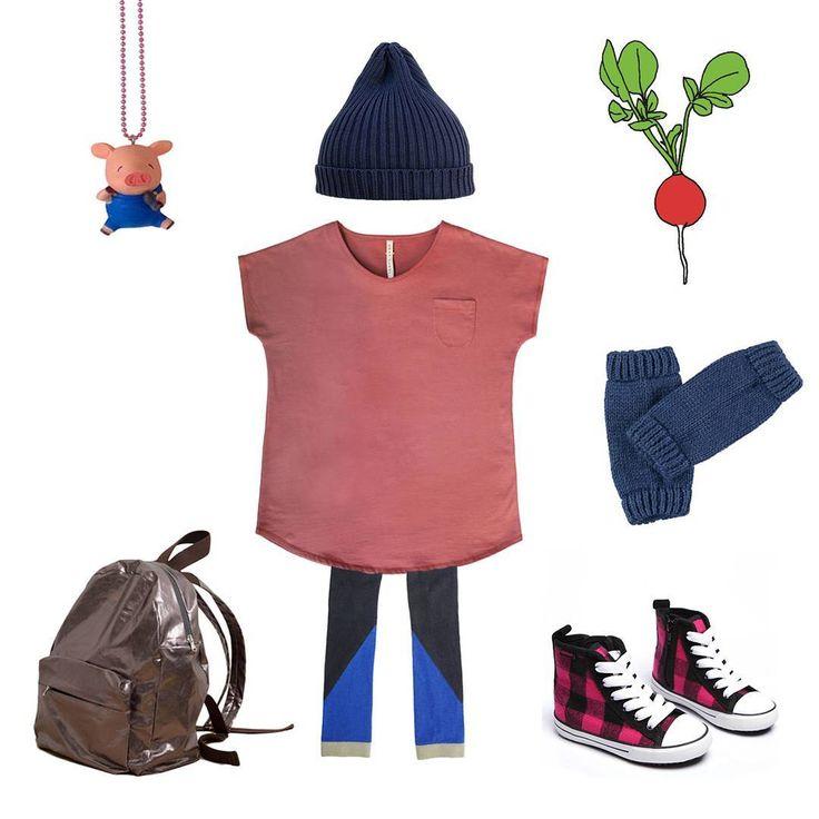 Комфортный лук дня на выходные ✖ Платье-футболка #graylabel (1-6 лет), леггинсы #niconicoclothing, шапка #kokokokids (1-7 лет и взрослые), гетры #yporquekids, кеды #ez_shoes, рюкзак #lukids (NEW), ожерелье со свинкой #popcutie, тату с редиской #tattly ✖ #babyswagru