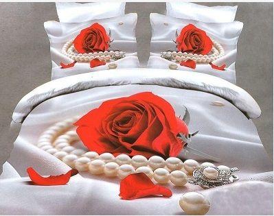 Pościel 3D Etiuda. Perła z różą to świetne połączenie. Pościel dostępna w sklepie kasandra.com.pl