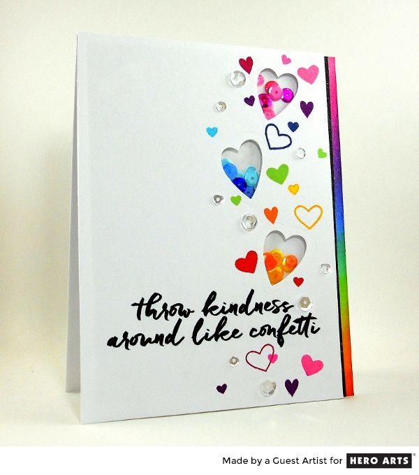 Rainbow confetti shaker card by Kelly Latevola #sharehandmadekindness